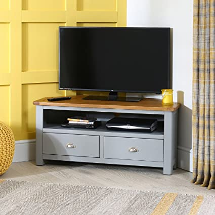 Portland Grey Painted Corner Tv Unit With Oak Top Up Amazon Co Uk Electronics