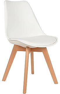1x Design Wohnzimmer Esstisch Küchen Stuhl Sessel Esszimmer Büro Flur Sofa  Sitz Polster Kunstleder Holz Weiß
