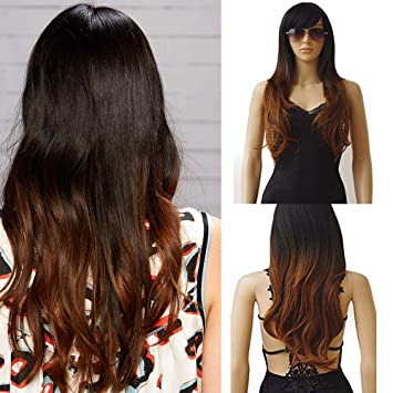 27.5 quot  Womens Wigs Long Curly Full Head Wig Ombre Synthetic Hair  Natural Daily Heat Resistant 899c9511f3