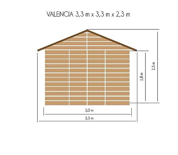 cadema Jardín Casa Valencia de madera, incluye suelo, 3, 3 m x 3, 3 m x 2, 3 m (3 x 3 m) - Cobertizo: Amazon.es: Jardín