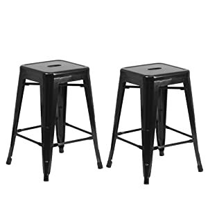 "Vogue Furniture Direct 24"" Black Backless Metal Bar Stools Indoor-Outdoor Counter Height Stool with Square Seat, Set of 2 - VF1571001"