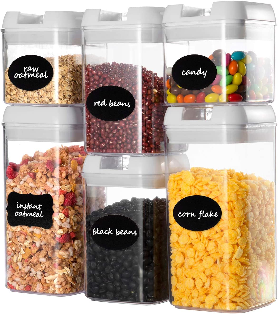 Airtight Food Storage Containers Set, Faite's 6 Pieces BPA Free Kitchen Storage Container with Easy Lock Lids,Plastic Sorage Bins with Durable Lids Ideal for Cereal, Flour & Sugar