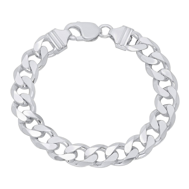 Verona Jewelers Sterling Silver Italian Curb Cuban Link Chain Bracelet for Men 7.5MM 8MM 9.2MM- 925 Sterling Silver Bracelet for Men, Silver Cuban Link Chain (11MM-8Inch)