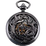 ManChDa Mens Antique Mechanical Pocket Watch Lucky Dragon & Phoenix Retro Skeleton Dial with Chain