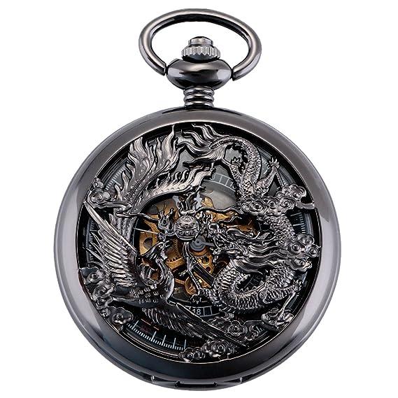 ManChDa Antiguo Negro Hunter Números Romanos Dragon y Phoenix Reno Patrón  Hueco Mecánico Reloj de ec17752790a6