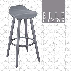 Elle Decor Caroline Kitchen Counter Height Bar Stool Vintage Curvy Seat, Tapered Legs, Gray