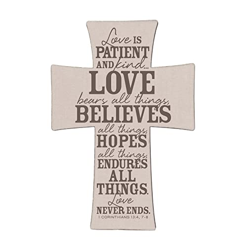 Lighthouse Christian Products 10.25 x 15 Love is Burlap and Linen Cross Wall Art