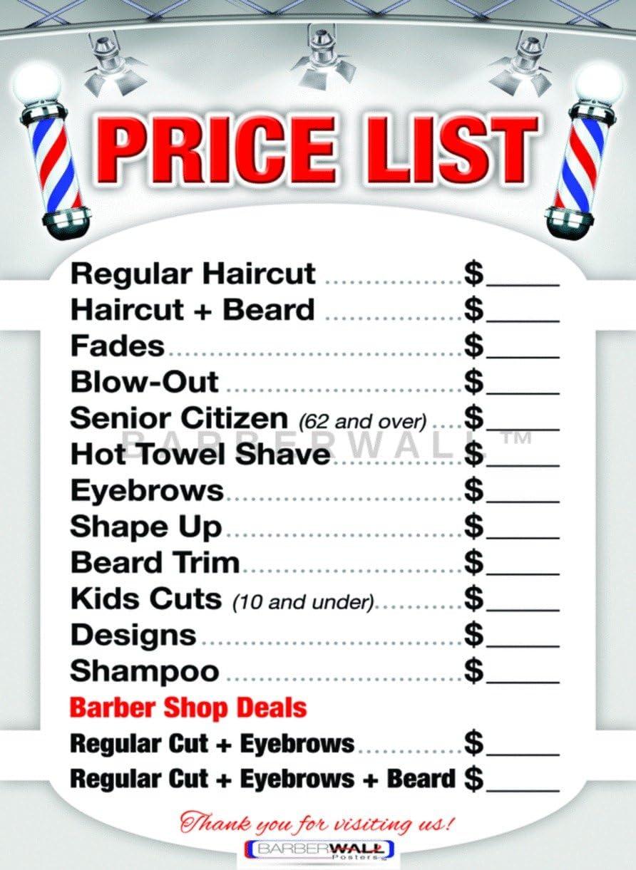 Barber Shop Price List by BARBERWALL   Barber Poster   Barber Shop Poster    9 x 9 Laminated