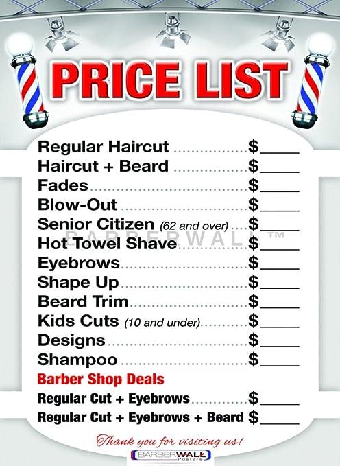 Barber Shop Price List by BARBERWALL , Barber Poster , Barber Shop Poster ,  36 x 24 Laminated