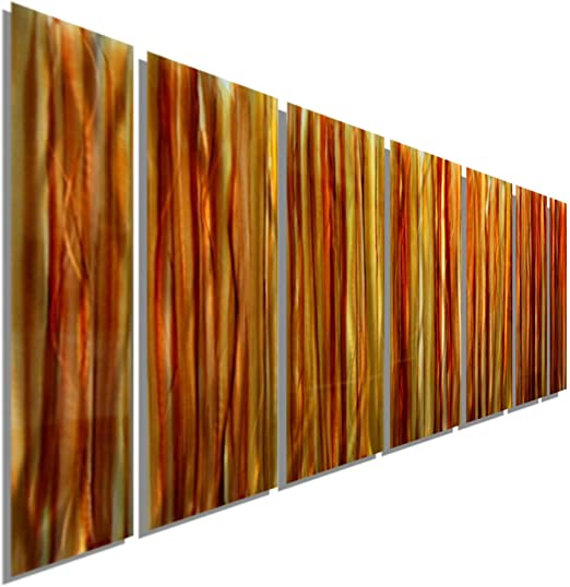 Statements2000 3D Metal Wall Art Panels Abstract Gold Amber Decor by Jon Allen