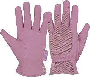 Womens Garden Gloves, Scratch Resistance Leather Gardening Gloves for Ladise,Yard Gloves 3D Mesh Comfort Fit- Improves Dexterity and Breathability (Medium, Pink)