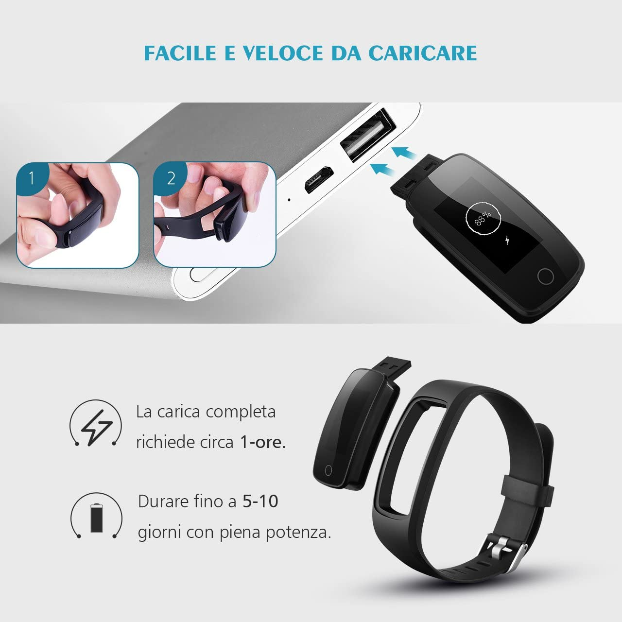 Mpow - Pulsera de actividad inteligente, monitor de ritmo cardíaco ...