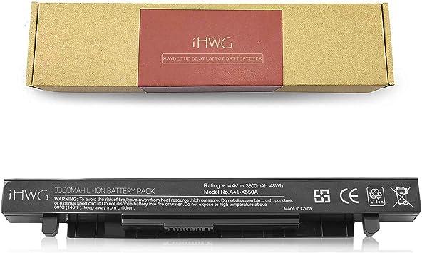 iHWG A41-X550A Alta Capacidad Batería 6 Celdas 3300mAh para ASUS A41-X550 A41-X550A A450 P550 F550 F552 K450 k550 R510 X 450 X550 A450C Serie, Compatible A550C X550A X550B X550D[14.4V / 48Wh]: Amazon.es: