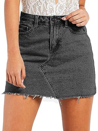 66b959e34e Women's High Waisted Jean Skirt Slim Fit Zip Front Elastic Bodycon Denim  Mini Skirt (XS