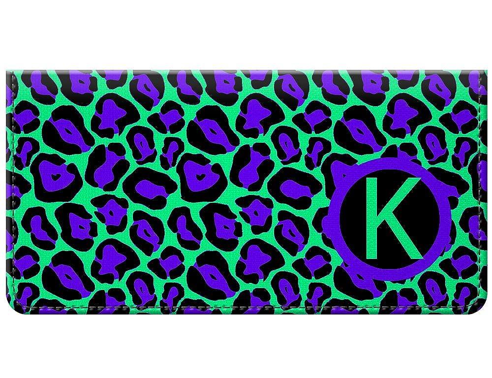Snaptotes Seafoam Green Leopard Design Trendy Personalized Monogram Checkbook Cover