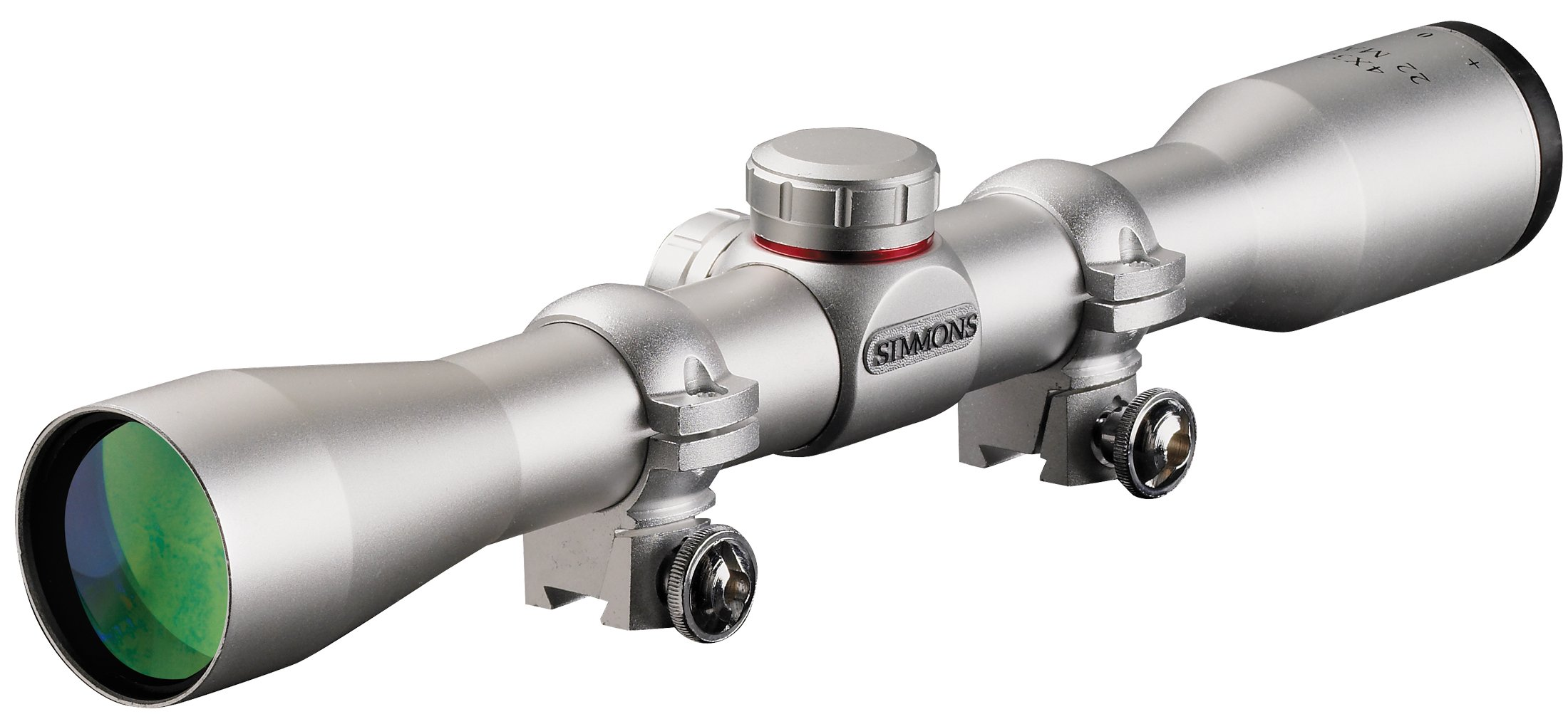 Simmons .22 Mag TruPlex Reticle Rimfire Riflescope with Rings, 4x32mm (Silver) by Simmons