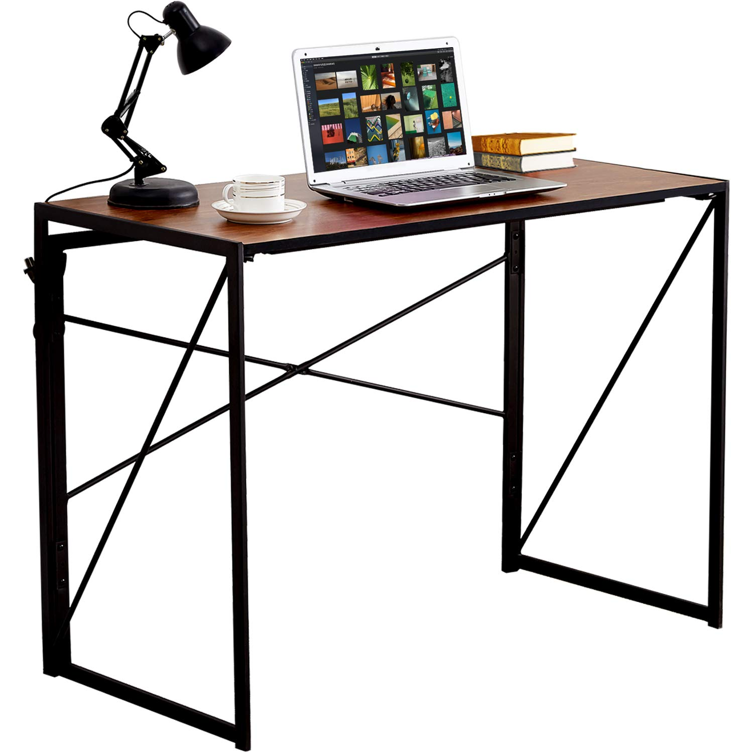 VECELO Writing Computer Folding Desk/Sturdy Steel Laptop Table for Home Office Work by VECELO (Image #1)