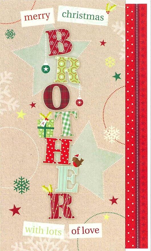 Tarjeta de Navidad para hermanos en relieve de Words n ...