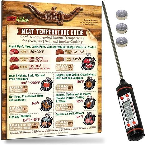 Alta Precisión Termómetro Digital barbacoa + Temperatura de carne Guía Imán + 2 pilas gratuitas by