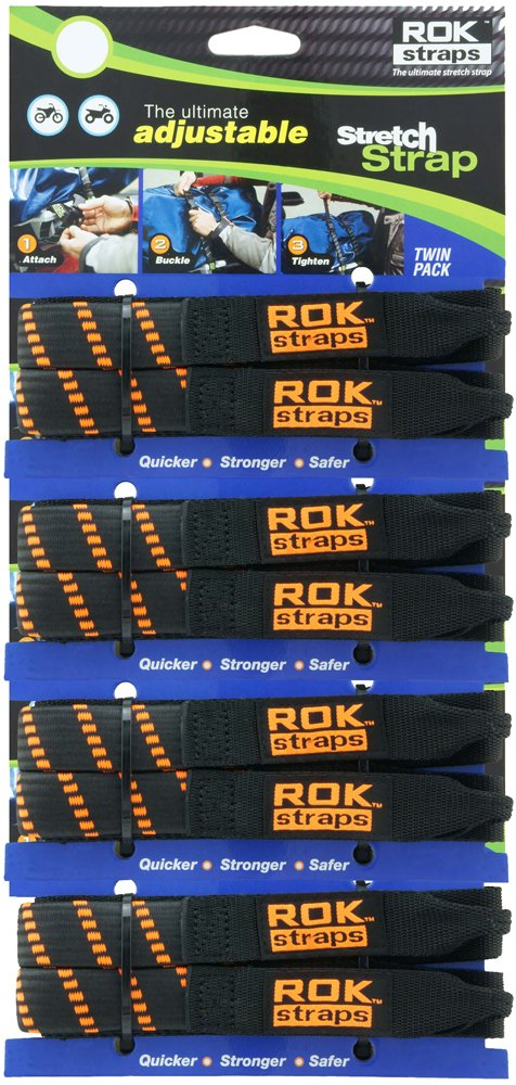 ROK Straps ROK-10306-4PR Black/Orange 12''- 42'' Adjustable Stretch Strap, 4 Pair