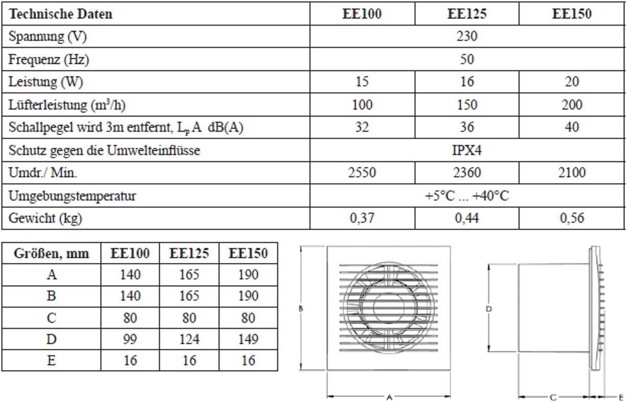 KERABAD Ventilator L/üfter Badl/üfter Wandl/üfter Bad-L/üfter f/ür WC Bad oder K/üche Standart Weiss /Ø 150 mm Durchmesser S