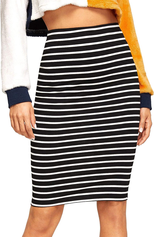 SheIn Women's Striped Knee Length Elastic Waist Bodycon Pencil Skirt