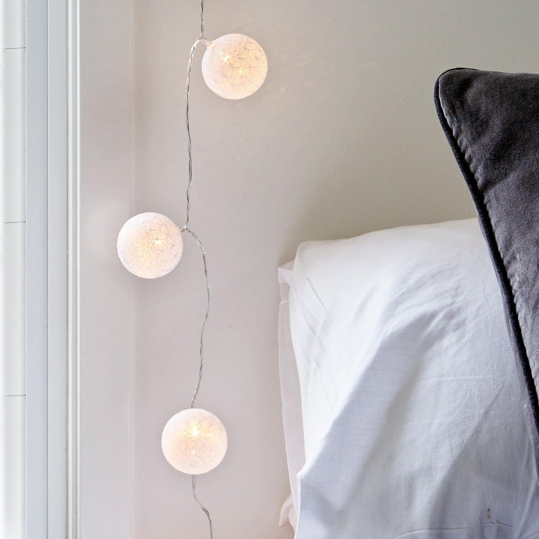 Boule Guirlande Lumineuse 20 DEL lumineux Câble d/'alimentation balle argent//blanc 4,7 m intérieur