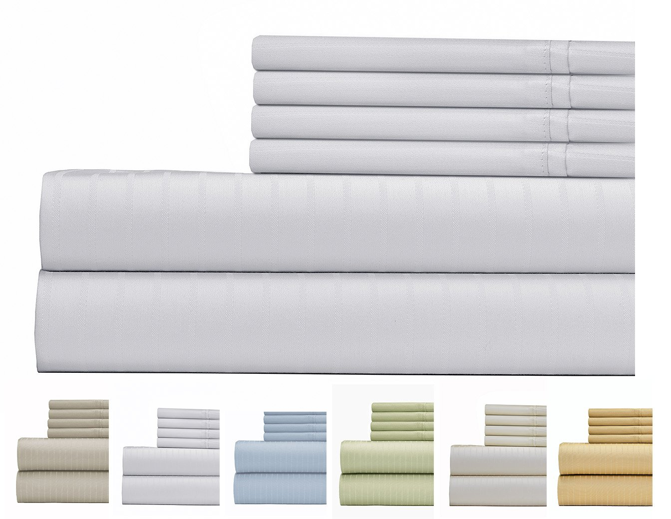 700 Thread Count Cotton Rich Bed Sheet, Pin Stripe 6 Piece Bedding Sheet Set, Hotel Quality Sheet Set with 2 Extra Bonus Pillow Cases, 15 inch Elastic Deep Pocket Fitted Sheet - Queen - White