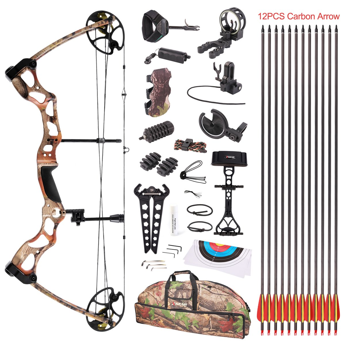 Leader Accessories Compound Bow Hunting Bow 50-70lbs with Max Speed 310fps (Autumn Camo with Full Accessories)