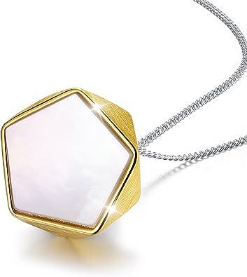 Agate Pendant Gold Chain Necklace Unique Stone Pendant Unique Gift for Her Pearl Chain Necklace