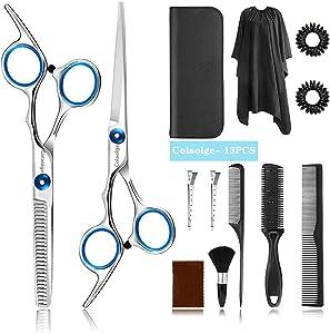 Hair Cutting Scissors Set Colaolge- Hairdressing Shears Kit (13 PCS) Professional Haircut Scissors Kit with Hair Cutting Scissors, Thinning Shears, Multi-Use Haircut Kit for Home/Salon/Barber