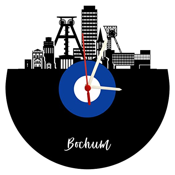 Bochum Skyline - Reloj de Pared (Mecanismo de Cuarzo), Color Azul y Blanco: Amazon.es: Relojes