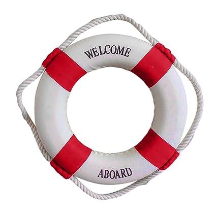 Gosear Bienvenido a Bordo náutica Salvavidas Anillo Pared Colgante casa decoración para casa Restaurante cafetería Props