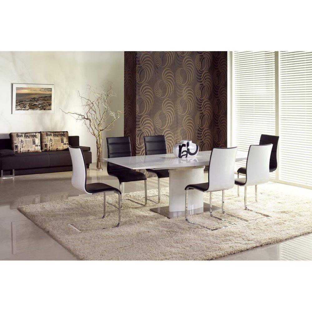 JUSThome Sitzgruppe Essgruppe Esszimmertisch Marcello Weiß Hochglanz + 6 Stühle K104