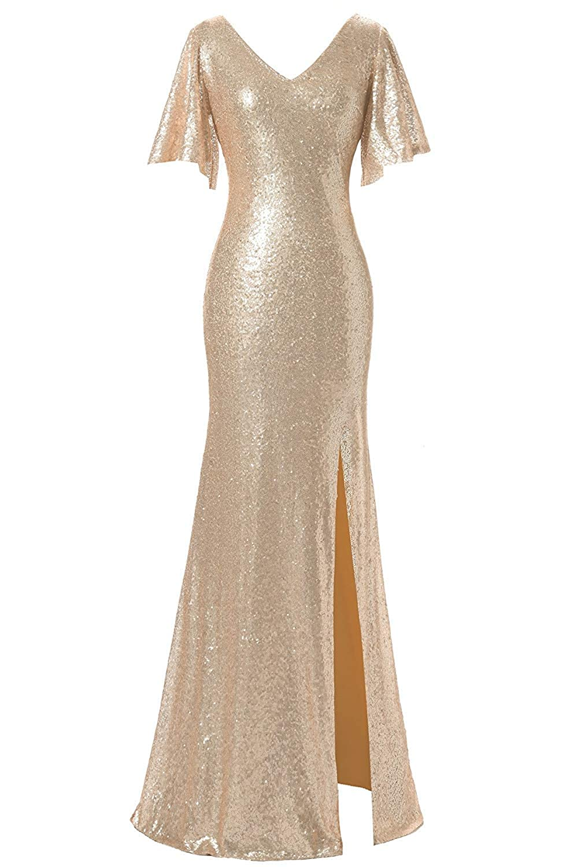 Champange Victoria Prom Women's Sequin VNeck Evening Dress Flutter Sleeve FloorLength Gown
