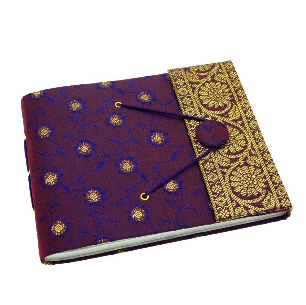 Paper High Small Photo Album Indian Sari Design 180 mm x 140 mm Purple