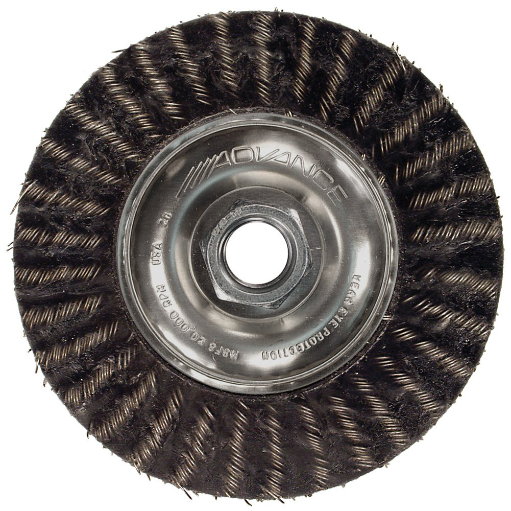 PFERD 83509 Power ECAP Encapsulated Crimped Wire Wheel Brush with Stringer Bead Twist, Threaded Hole, Carbon Steel Bristles, 7'' Diameter, 0.014'' Wire Size, 5/8''-11 Thread, 9000 Maximum RPM, 1-9/16'' Trim Length