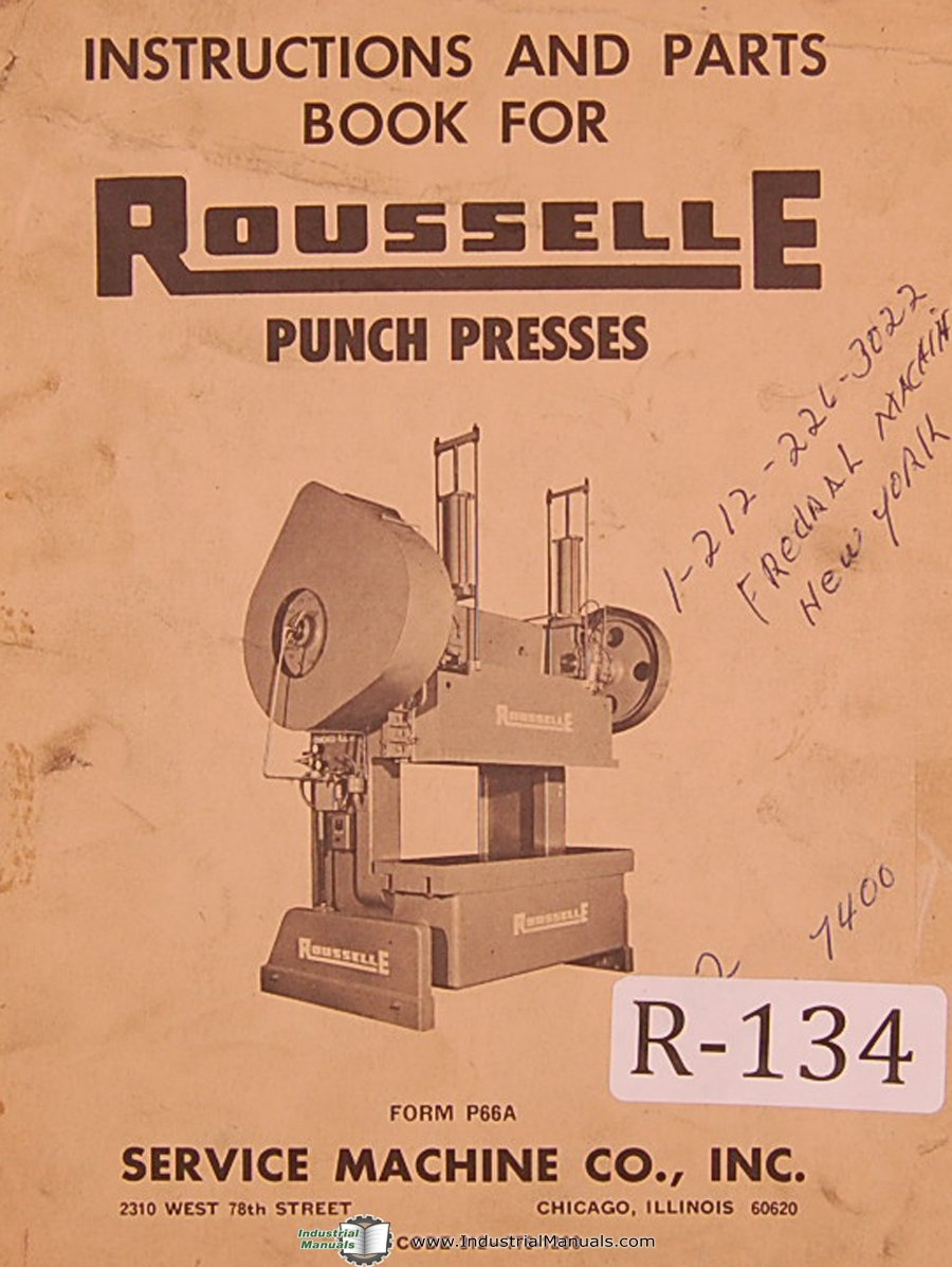 Rousselle Punch Press Service Operators Instructions and ... on