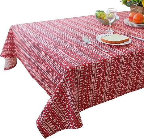 Mantel rectangular de lino y algodón, 100 x 140 cm, diseño navideño, color rojo, tela, Rojo, 140*200CM: Amazon.es: Hogar