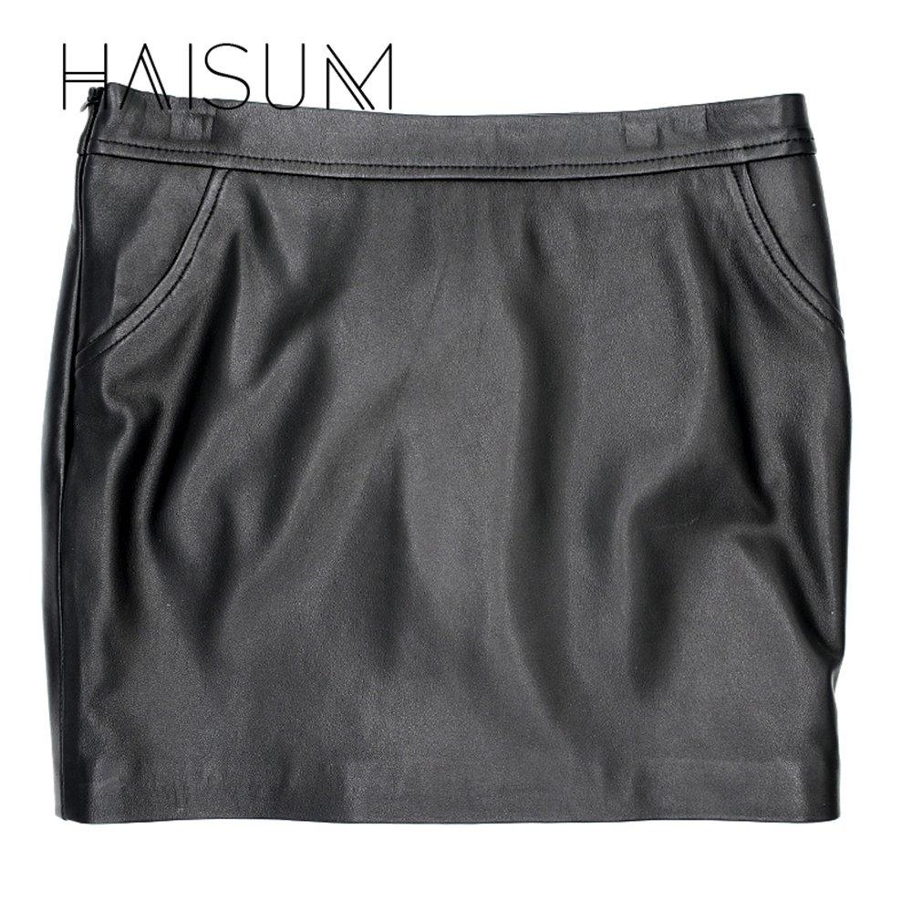 Black Women Classic Black High Waisted Genuine Leather Bodycon Slim Mini Pencil Skirt