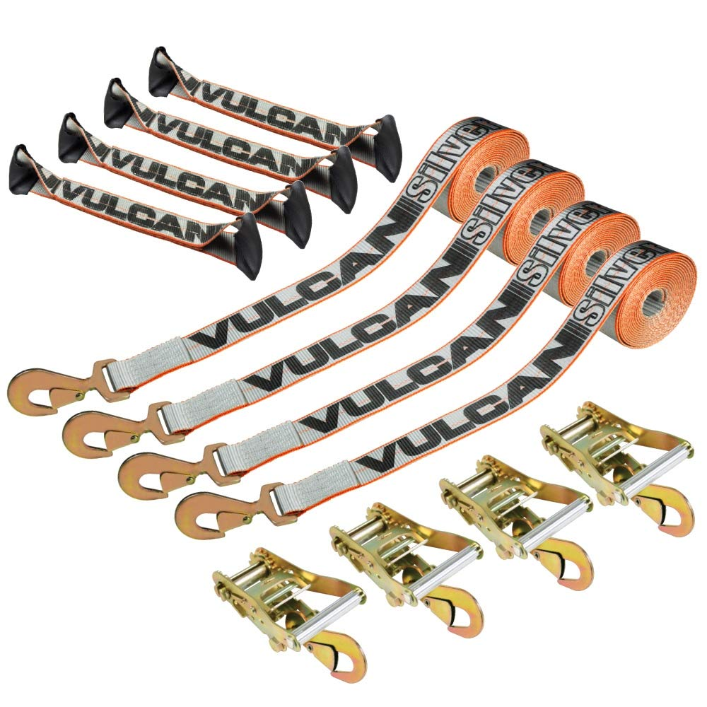 Vulcan Silver Series 8-Point Roll Back Vehicle Tie Down Kit with Snap Hooks On Both Ends (Set of 4) by Vulcan