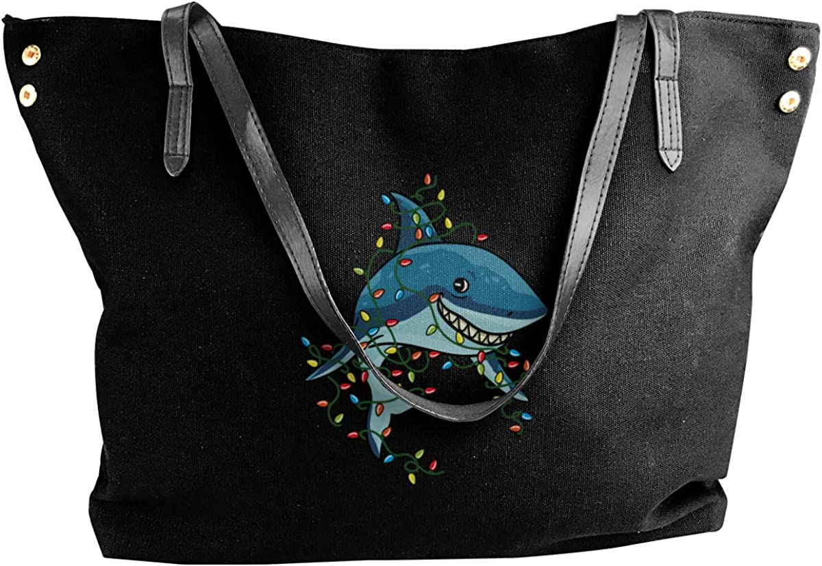 Tangled Shark Christmas Lights Women Canvas Shoulder Bag Casual Handbags