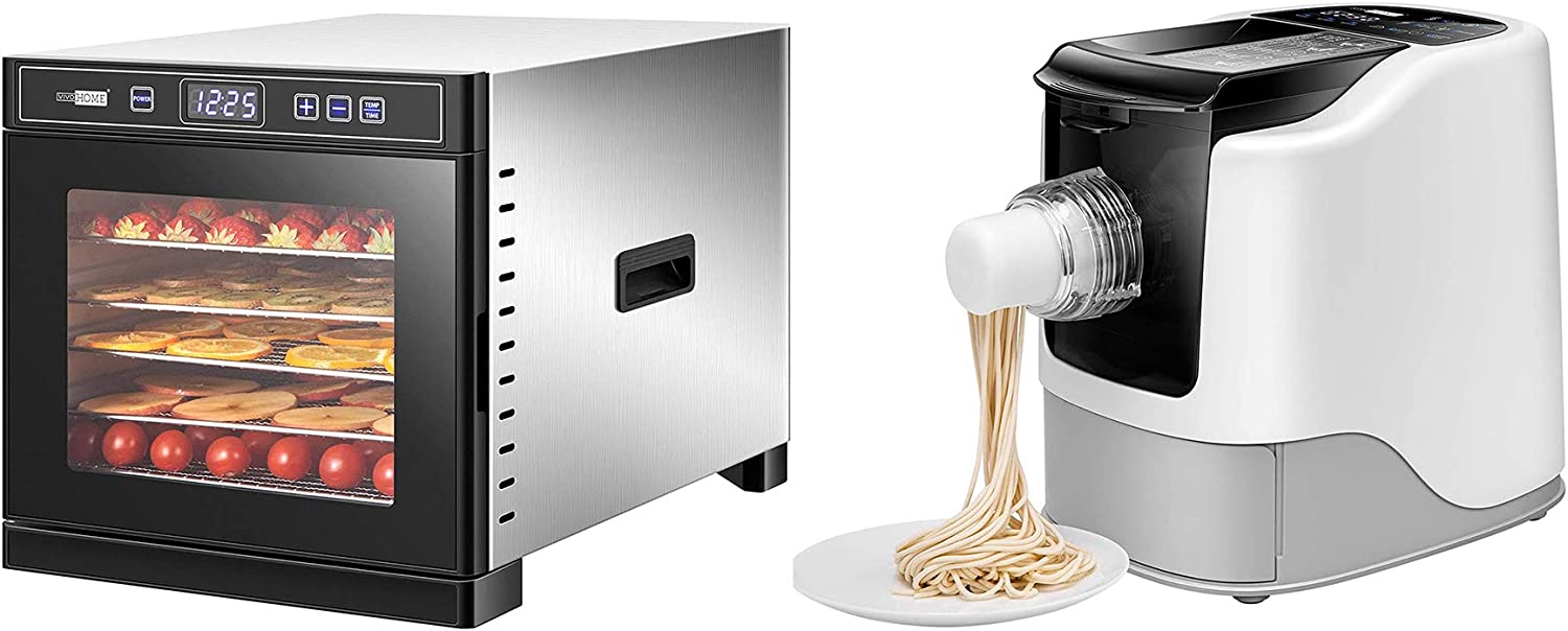 VIVOHOME Stainless Steel Electric 1000W 6 Trays Commercial Food Dehydrator Machine with 110V Electric Automatic Pasta Ramen Noodle Maker Combo Set