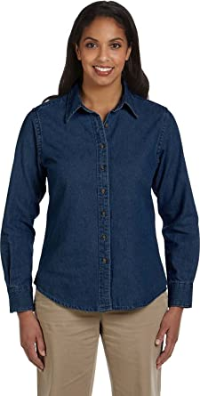 Harriton womens Long-Sleeve Denim Shirt (M550W) at Amazon Women's ...
