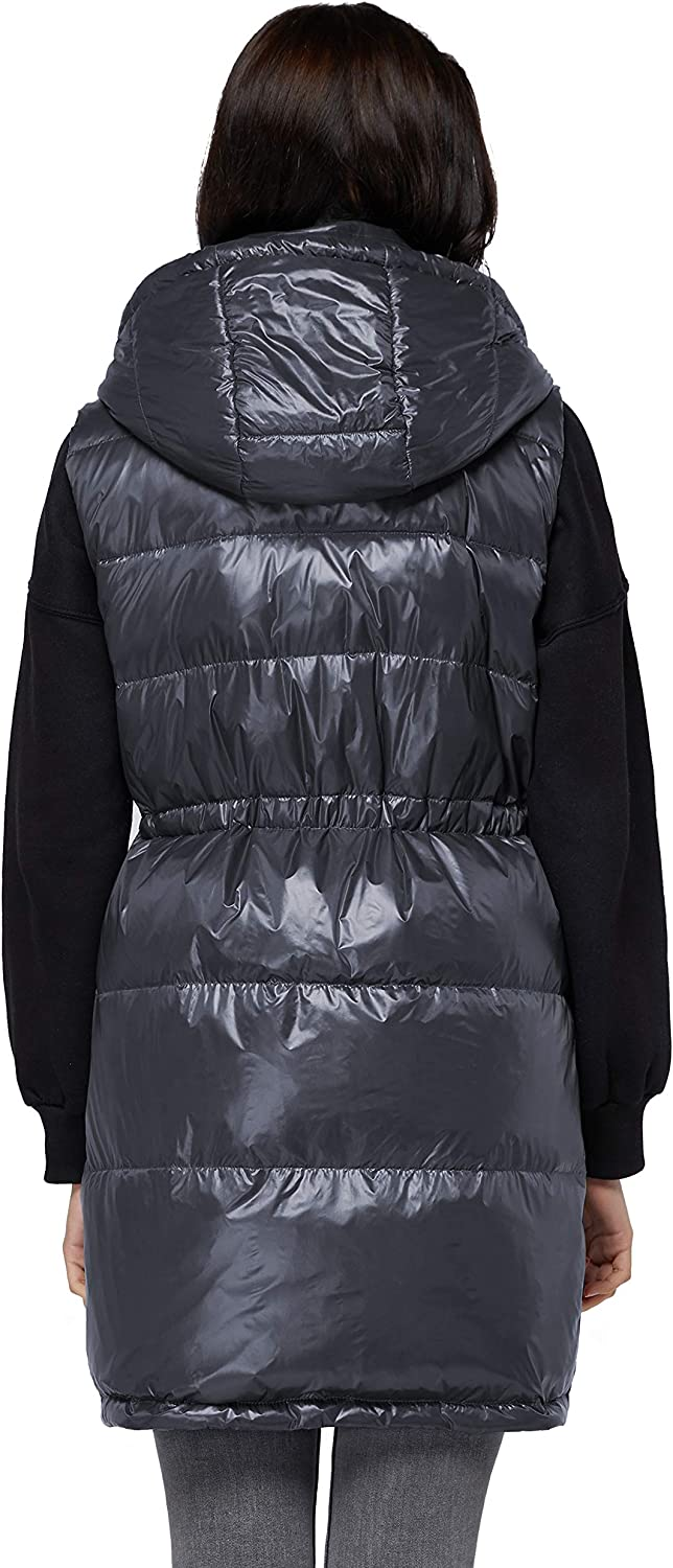 Surblue Womens Mid-Long Down Gilet Vest with Pockets Hooded Glossy Thick Coat