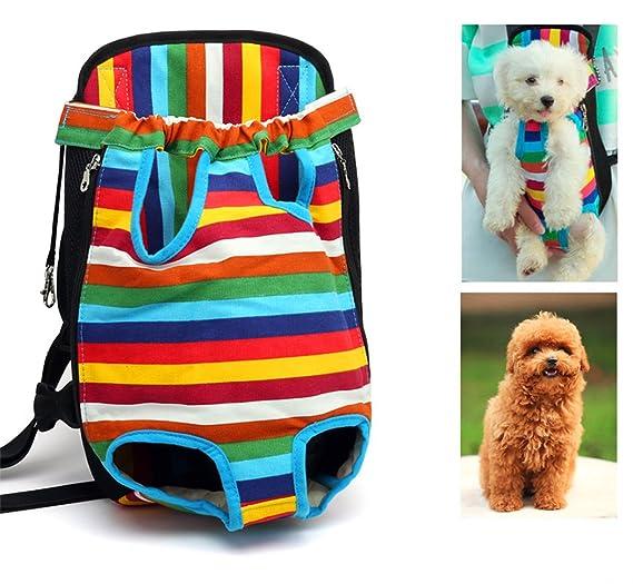 Xiaoyu mochila porta mascotas, ajustable, sin manos, con las piernas abiertas y transpirable mochila portadora delantera de gato perro, Multicolor, ...