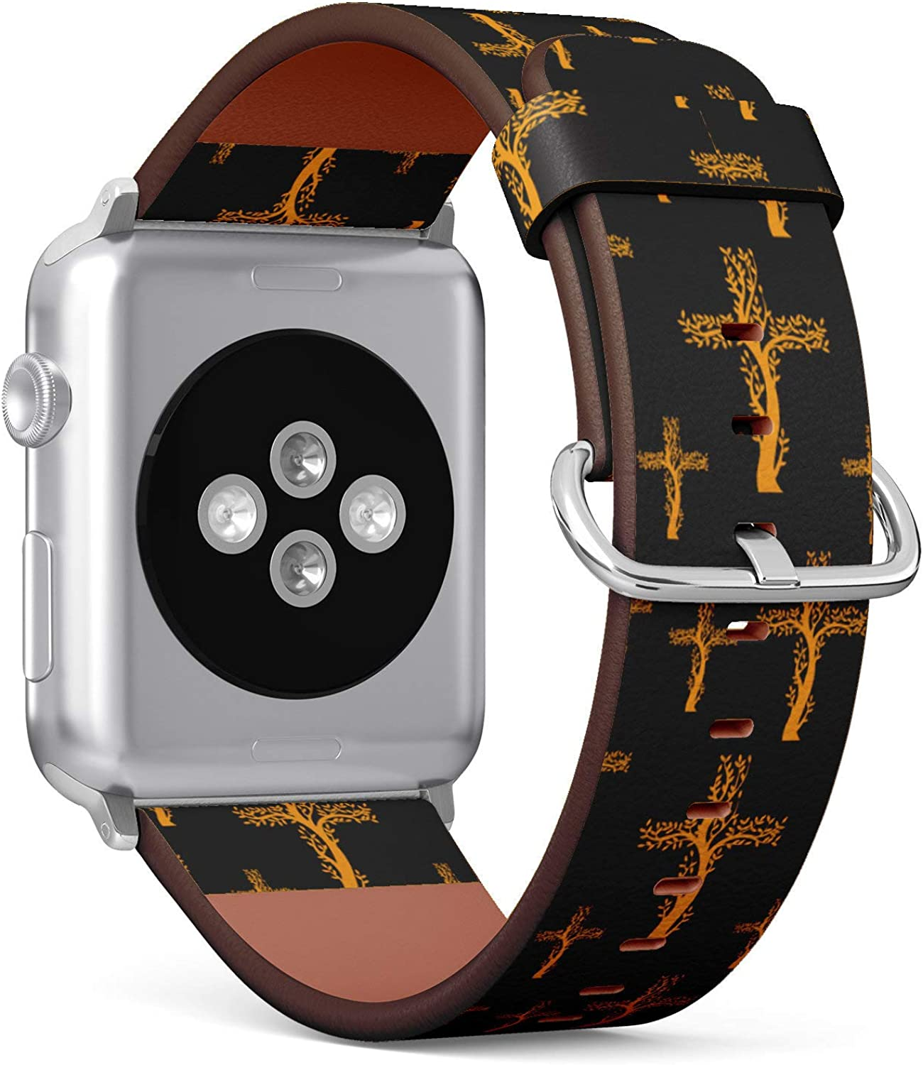 (Gold Christian Cross in The ofm of Tree) Patterned Leather Wristband Strap Compatible with Apple Watch Series 4/3/2/1 gen,Replacement of iWatch 38mm / 40mm Bands
