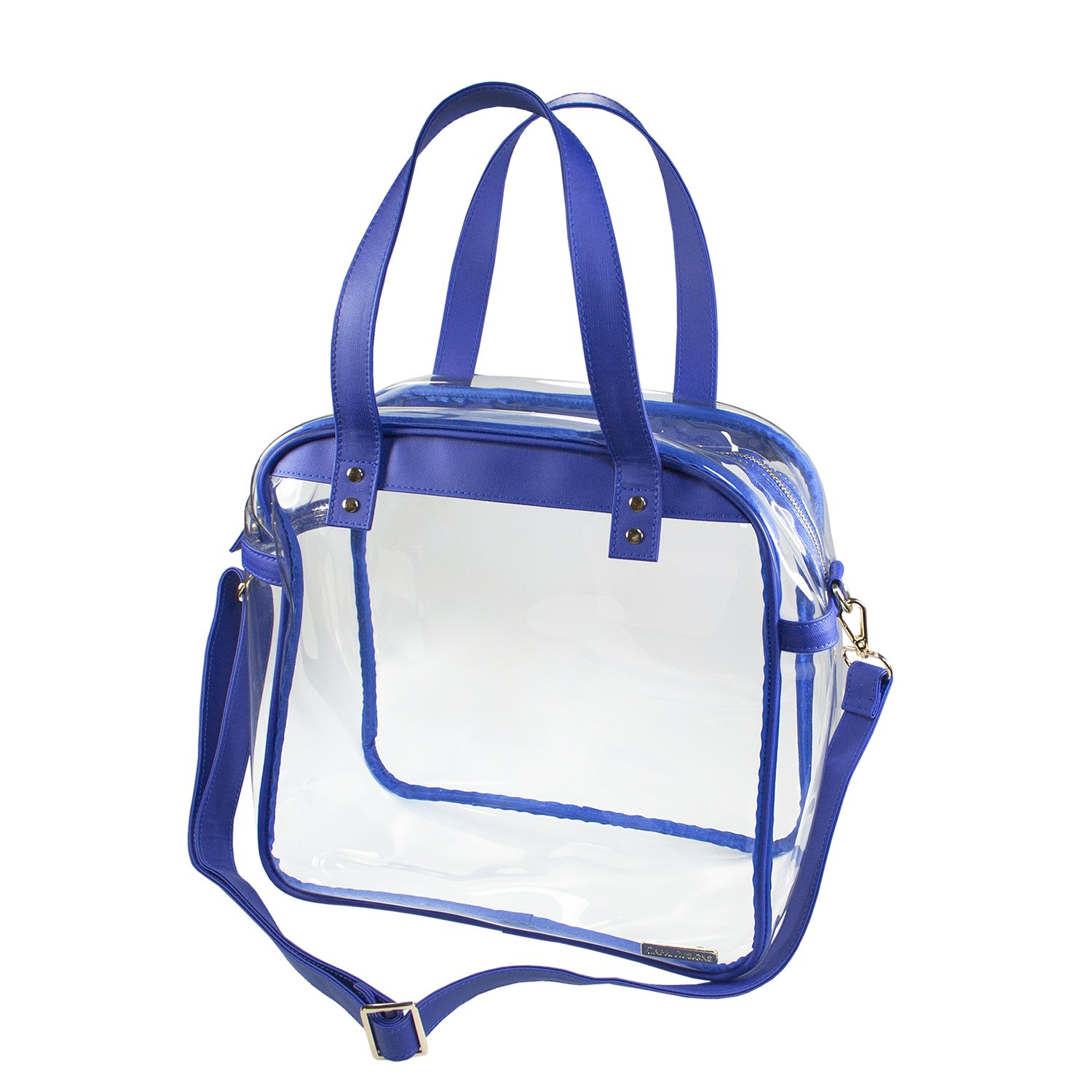 Capri Designs Stadium Approved Cotton Canvas Clear Carryall Tote Bag Royal Blue