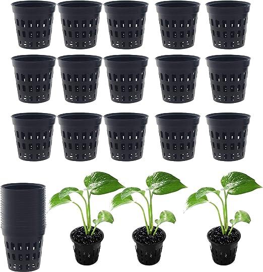 Mein HERZ 40 Pcs Plástico Plantar Malla Red Olla Cestas Jardín Hidropónico Plant Grow Taza, 4, 5 × 4, 2 cm Copas de Plantas Ollas Plástico Durable Jardín Neto Guardería Canasta Canasta: Amazon.es: Jardín