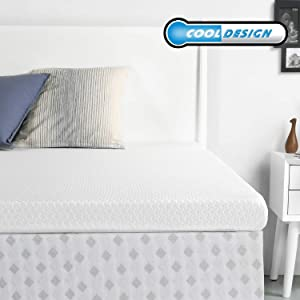 RUUF Memory Foam Mattress Topper Queen | 4-Inch High Density Active Cooling Bed Topper | Removable & Washable Hypoallergenic Cover | Medium-Firm